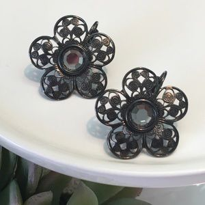 Kirks Folly Earrings Floral Filagree and Crystal